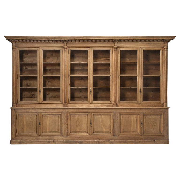 French Bookcase Mid-1800's in Exceptional Unrestored Condition Weathered Oak For Sale