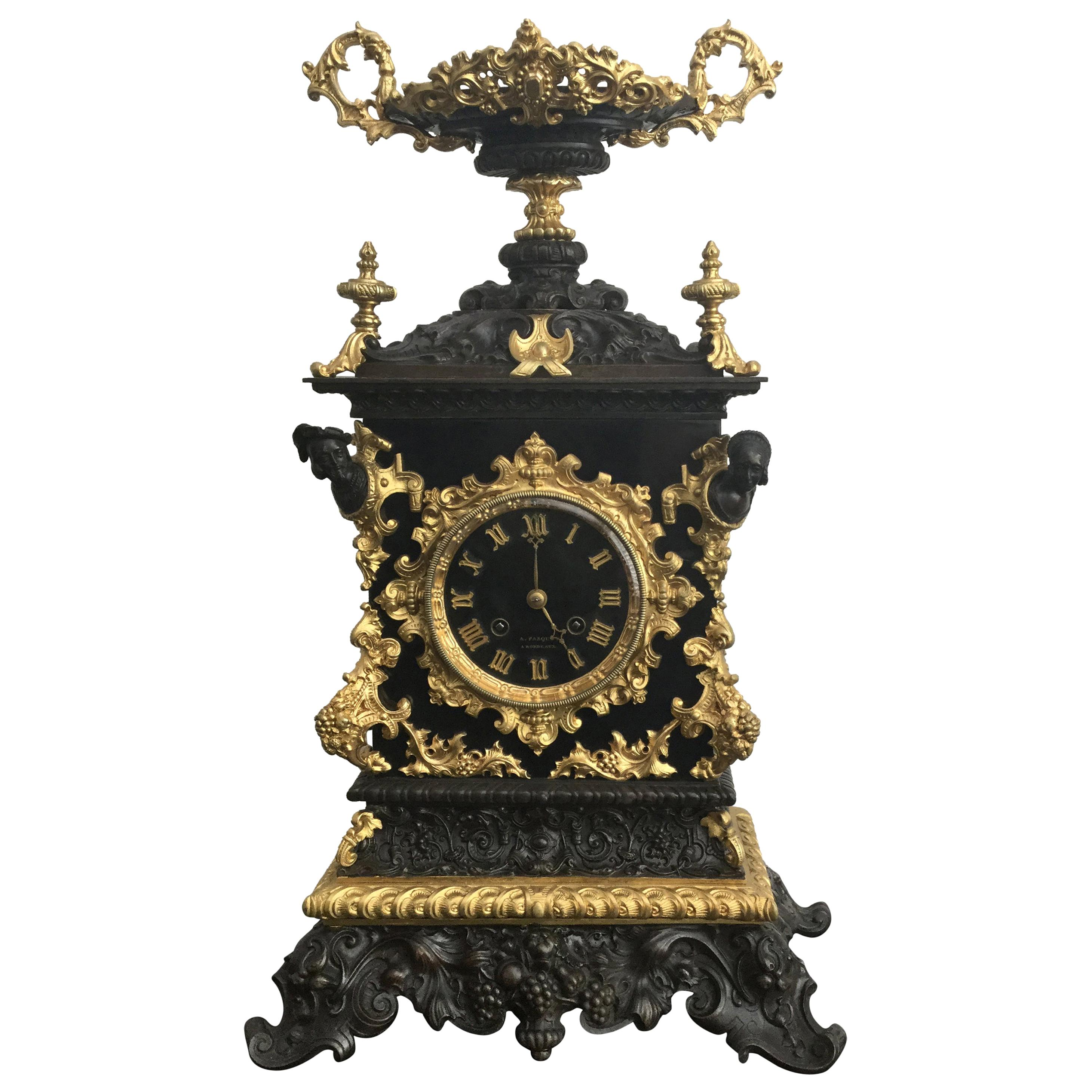French Bordeaux 19th Century Gothic Style Bronze and Slate Mantel Clock