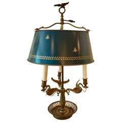 French Bouillotte Lamp, Bee and Laurel Leaf Decoration, Painted Green Tôle Shade