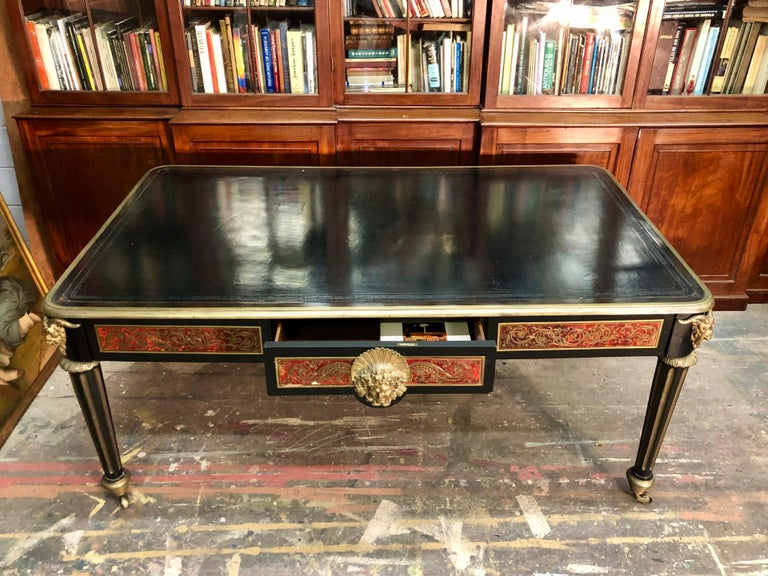 French Boulle Bureau Plat  / Library Table, Late 18th Century For Sale 8