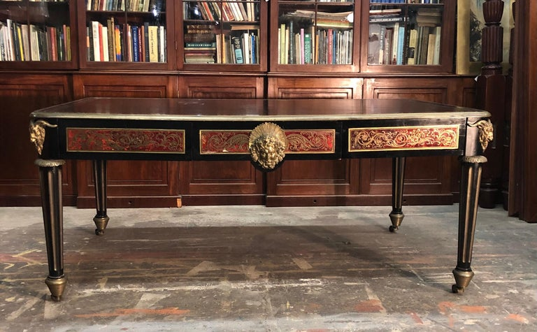 French Boulle Bureau Plat  / Library Table, Late 18th Century For Sale 9
