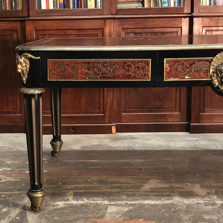 Ebonized French Boulle Bureau Plat  / Library Table, Late 18th Century For Sale