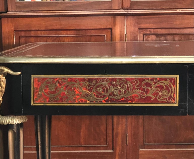 French Boulle Bureau Plat  / Library Table, Late 18th Century In Good Condition For Sale In Charleston, SC