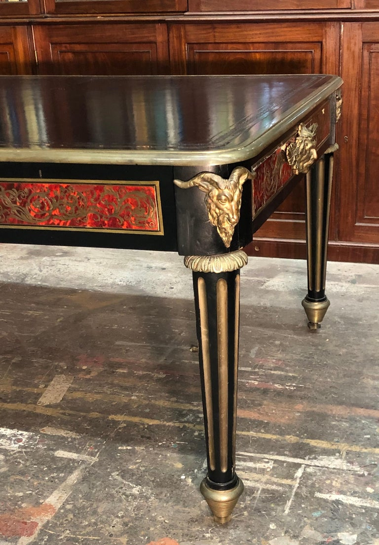 French Boulle Bureau Plat  / Library Table, Late 18th Century For Sale 1