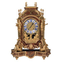 French Boulle Clock After Andres Boulle, Regence Style by Denis Millard A Paris