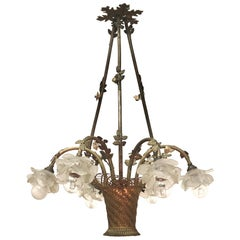French Bouquet Bronze and Glass Chandelier, circa 1900s