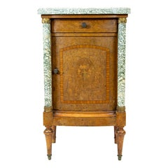 French Bow Front Burl Walnut Marble Top Inlaid Cupboard