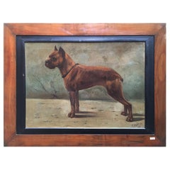 French Boxer Dog Painting by Fr Naas 1923 Oil on Canvas with Walnut Frame