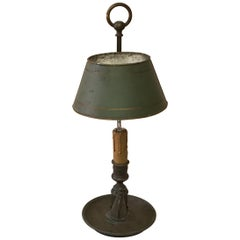 French Brass 19th Century Bouillote Lamp with Green Tole Shade