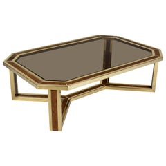 French Brass and Burl Smoked Glass Coffee Table