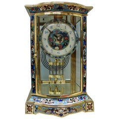 French Brass and Champleve Four Glass Mantel Clock