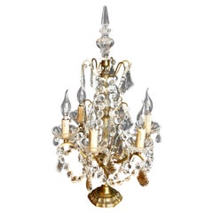 French Brass and Crystal 6 Branch Chandelier Table Lamp, Girandole