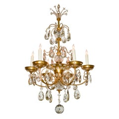 French Brass and Crystal Chandelier, in the style of Maison Jansen