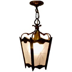 French Brass and Etched Glass Lantern Hall Light
