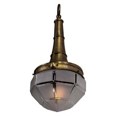 French Brass and Frosted Glass Hall Lantern Pendant
