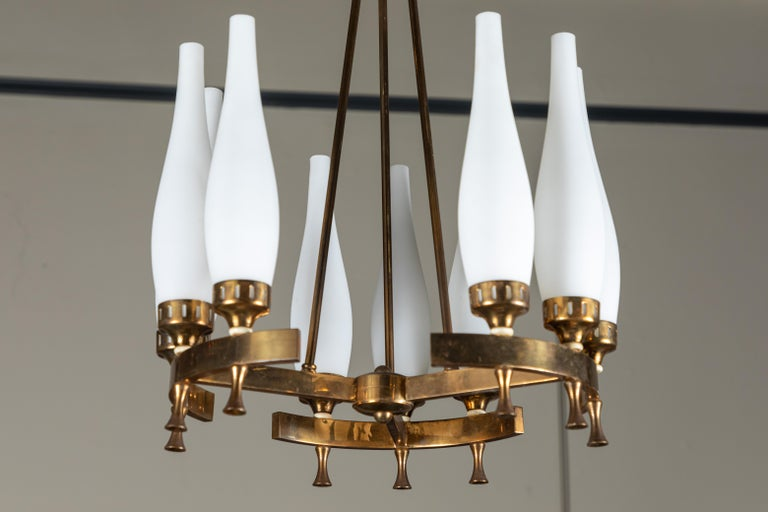 French Brass and Frosted Glass Torlesco Chandelier For Sale 3