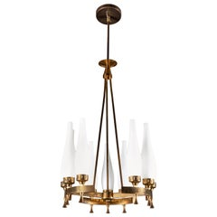 French Brass and Frosted Glass Torlesco Chandelier