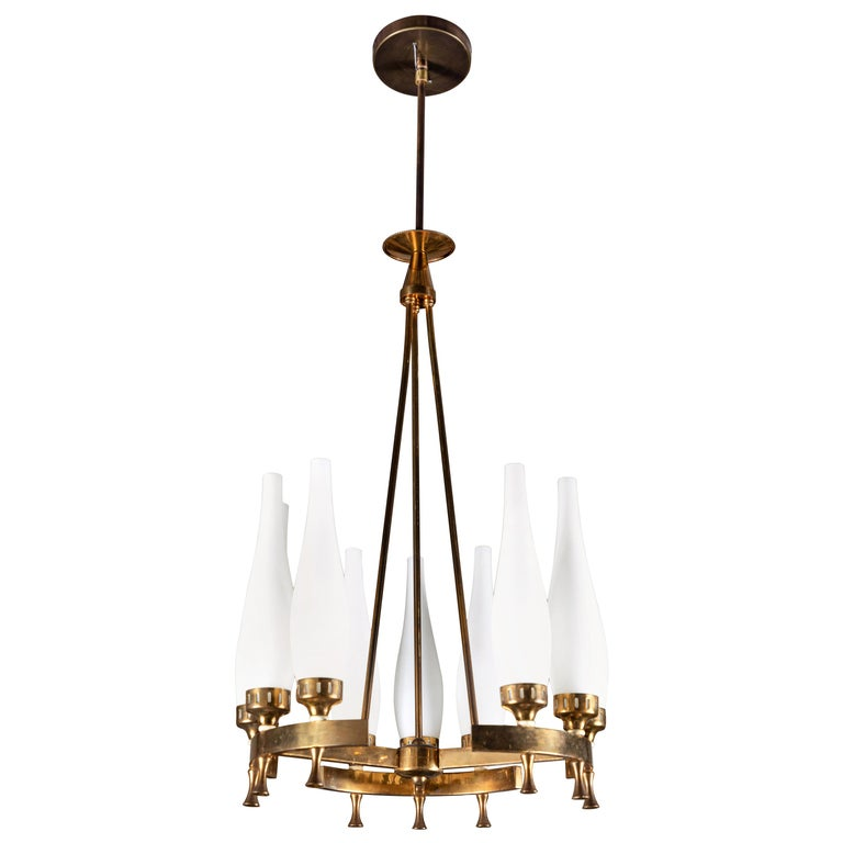 French Brass and Frosted Glass Torlesco Chandelier For Sale