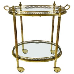 French Brass and Glass Bar Cart, Drink Trolley with Removable Tray, 1950s