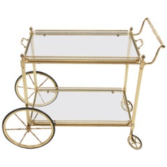 French Brass and Glass Bar Trolley