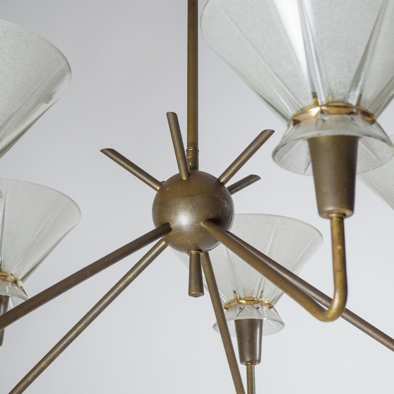 French Brass and Glass Chandelier, 1950s For Sale 5