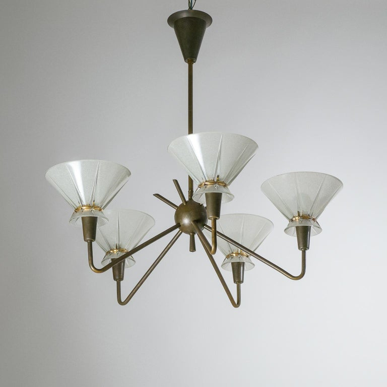 French Brass and Glass Chandelier, 1950s For Sale 6