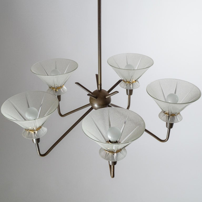 French Brass and Glass Chandelier, 1950s For Sale 7