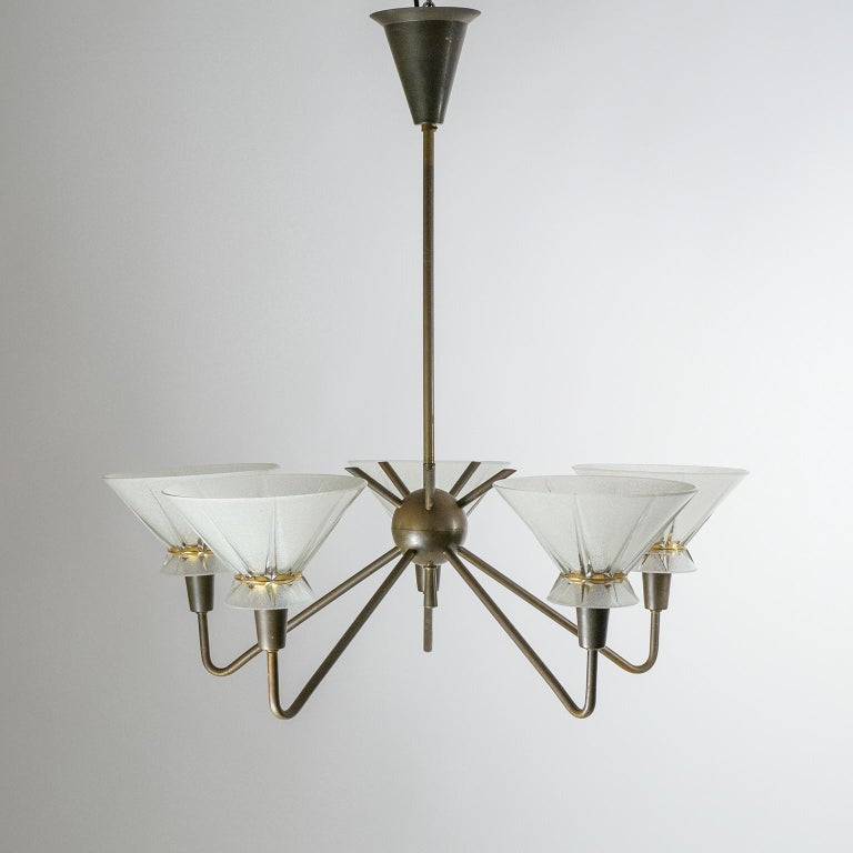 French Brass and Glass Chandelier, 1950s For Sale 8