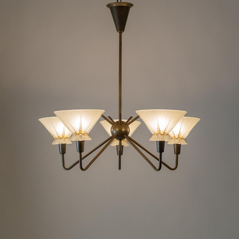 French Brass and Glass Chandelier, 1950s For Sale 9