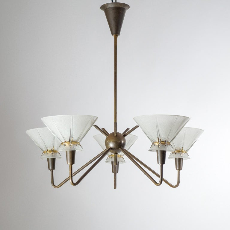 French Brass and Glass Chandelier, 1950s For Sale 10