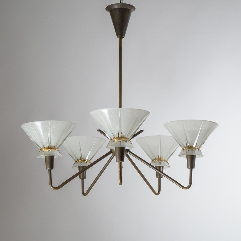 French Brass and Glass Chandelier, 1950s For Sale 11
