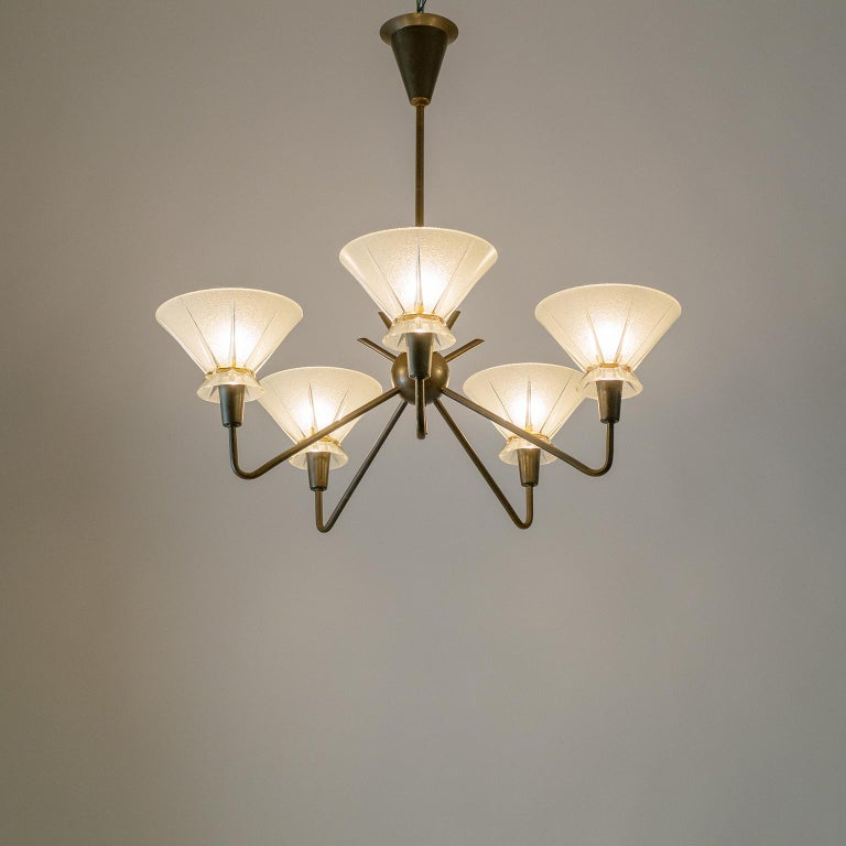 French Brass and Glass Chandelier, 1950s For Sale 12