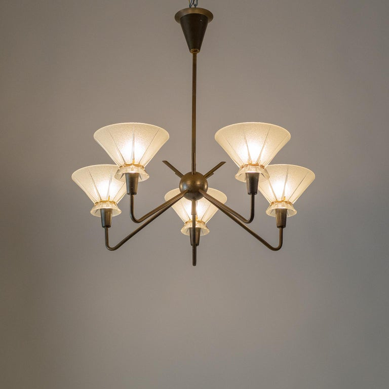 French Brass and Glass Chandelier, 1950s For Sale 13