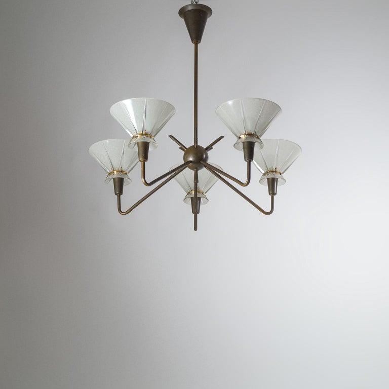French Brass and Glass Chandelier, 1950s For Sale 14