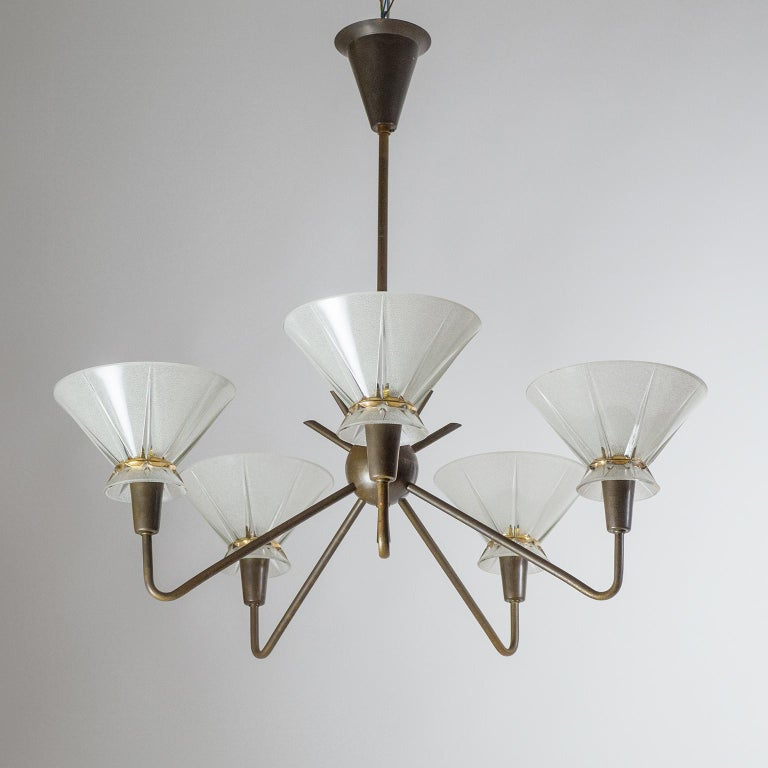 French Brass and Glass Chandelier, 1950s For Sale 1
