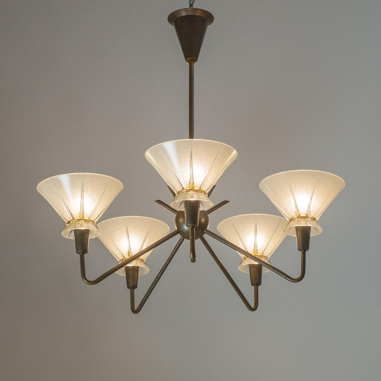 French Brass and Glass Chandelier, 1950s For Sale 2