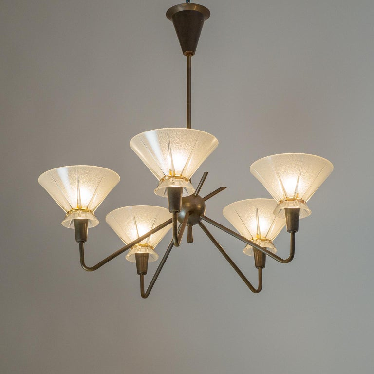 French Brass and Glass Chandelier, 1950s For Sale 3