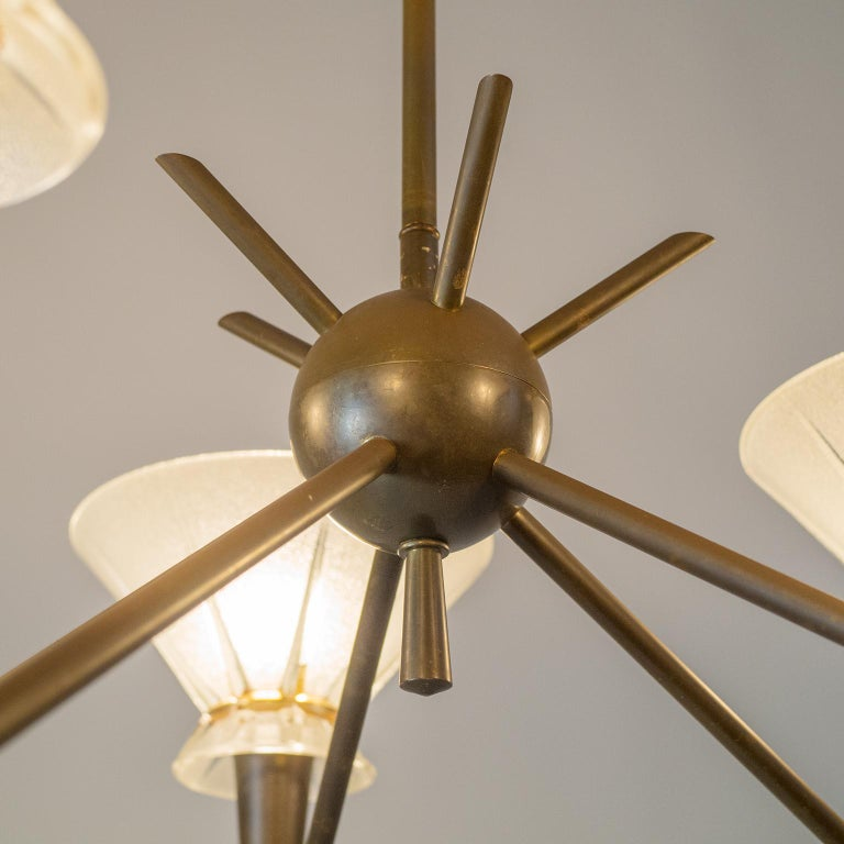 French Brass and Glass Chandelier, 1950s For Sale 4