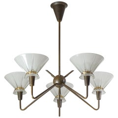 French Brass and Glass Chandelier, 1950s