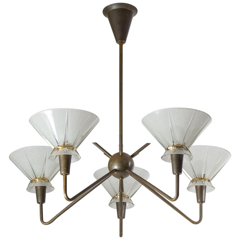 French Brass and Glass Chandelier, 1950s For Sale