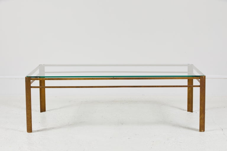Beautiful deco inspired petite French brass and glass coffee table by Jacques Quinet