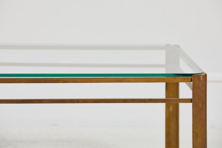 Mid-20th Century French Brass and Glass Coffee Table by Jacques Quinet For Sale