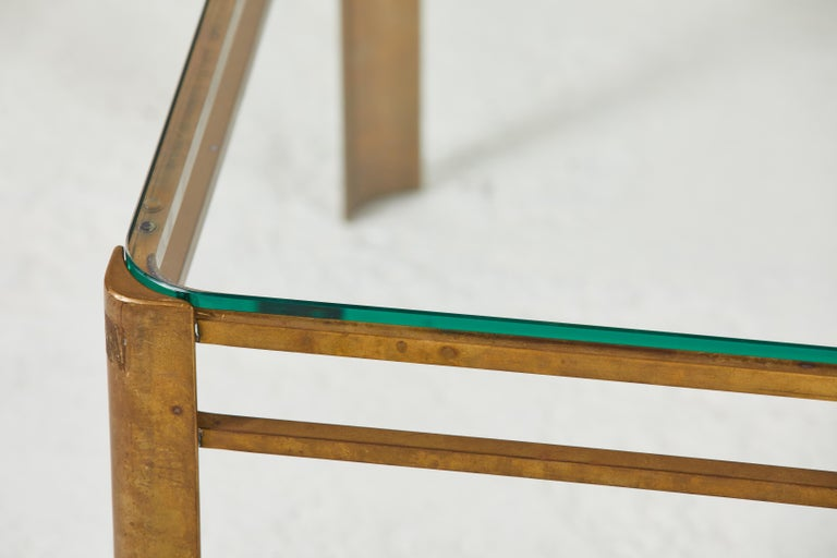French Brass and Glass Coffee Table by Jacques Quinet For Sale 1