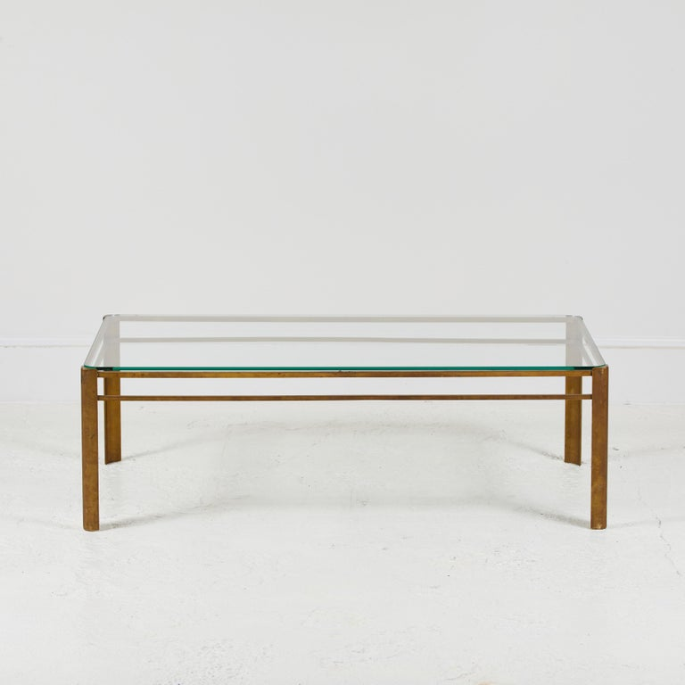 French Brass and Glass Coffee Table by Jacques Quinet 2