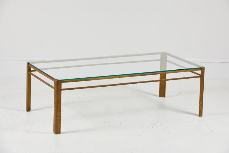 French Brass and Glass Coffee Table by Jacques Quinet For Sale 3