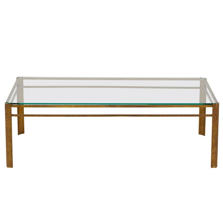 French Brass and Glass Coffee Table by Jacques Quinet For Sale