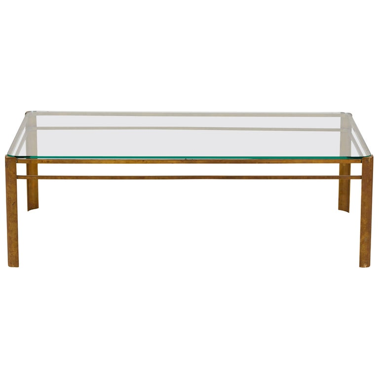 French Brass and Glass Coffee Table by Jacques Quinet