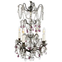 French Brass and Glass Four-Arm Chandelier