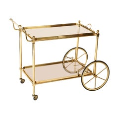 French Brass and Glass Midcentury Bar Cart