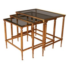 French Brass and Glass Nest of Tables